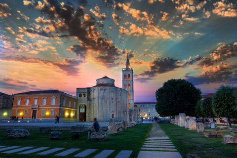 Dramatic sky in Sunset above the old roman square in Zadar, Croatia, with the Photo