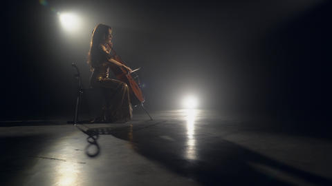 The cellist performs on stage Live Action