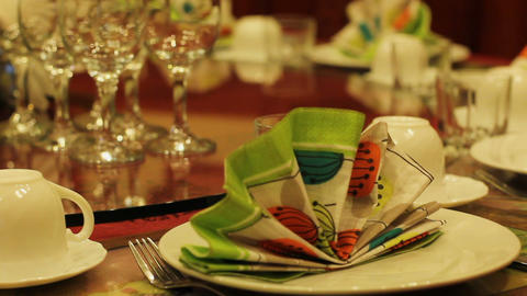 Restaurant table served for celebration, post-Soviet banquet in dining room Footage