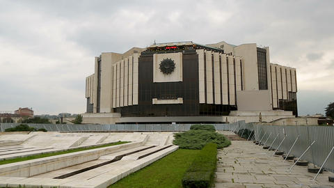 Facade of National Palace of Culture in Sofia, Bulgaria, architectural landmark Footage