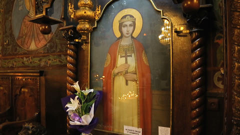SOFIA, BULGARIA - CIRCA SEPTEMBER 2014: Religious art. Icon of Saint Nedelya Live Action