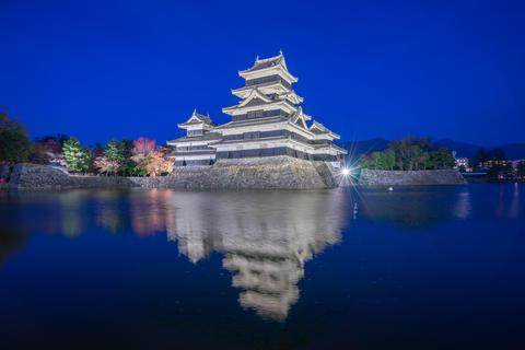 Matsumoto Castle at night in Nagano, Japan Photo