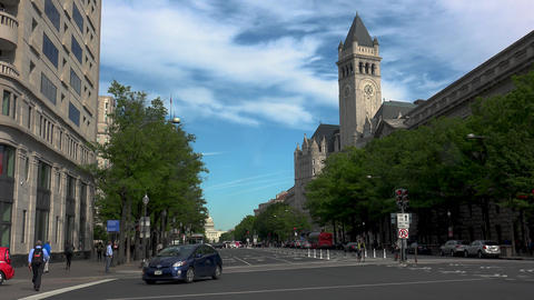 WASHINGTON DC, USA. Building at the Pennsylvania Avenue with traffic cars GIF
