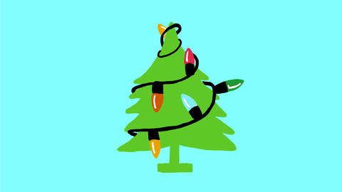 Vintage Christmas Tree Retro Lights 2D Animation Animation