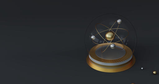 3d atom model animation. Golden symbol for science or chemistry. 3d rendering Animation