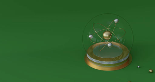 Animation of an atom symbol in a crystal ball. Future of physics concept. 3d CG動画