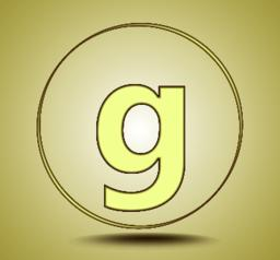 Letter G lowercase, round golden icon on light golden gradient background Vector