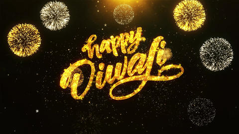 Happy Diwali Dipawali Text Greeting, Wishes, Celebration, invitation Background ビデオ