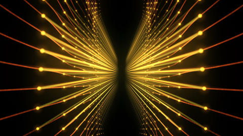 Slow Shivering Waves Of The Golden String Carcass On Black Background VJ Loop Live Action
