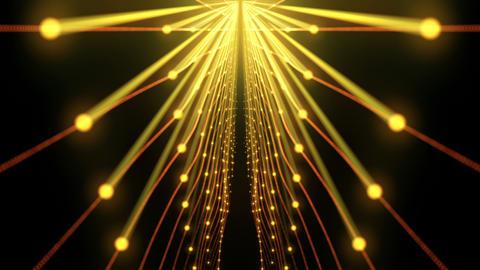Golden String Firework Sun Gate Flower On Black Background VJ Loop Footage