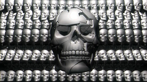 Smilimg Skull Displace Particle Face Shining Silver Metallic Elements Horror Live Action