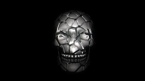 Destroyed Silver Metallic Skull With Displacing Jumping Pulsing Particles And Live Action