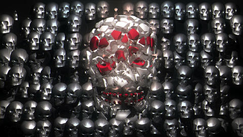 Jumping Colorful Flashing Skull With Silver Metallic Skulls Horror Helloween Live Action