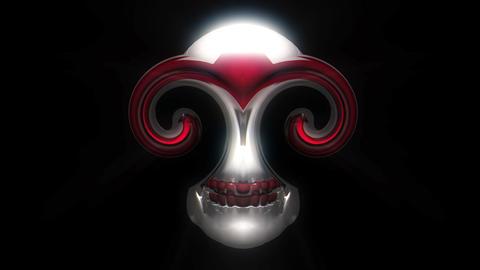 Silver Skull Flower With Circle Spiral Eyes Black Background VJ Loop Footage