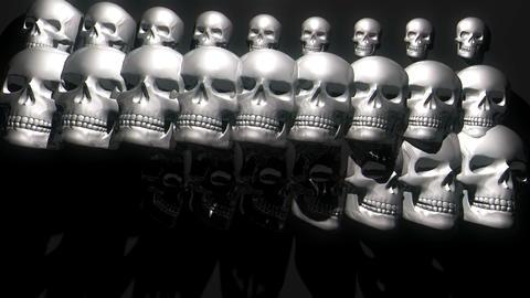 CIrcle Rotating Silver White Shiny Horror Helloween Skulls Black Background VJ Footage