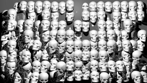 White Jumping Pulsing Helloween Horror Skulls Wall On grey Background VJ Loop Live Action