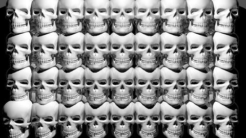 White Rotating Smiling Skulls Rhythmic Shining Waves Black Bakground VJ Loop Footage