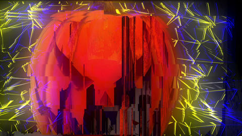 Head Nodding Halloween Pumpkin Jack O Lantern Glitching Horror Wall Colorful Live Action