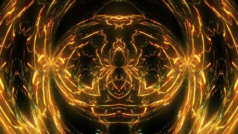 Rotating Shining Golden Particle Sparkles Cosmic Flower On Black Background VJ Live Action