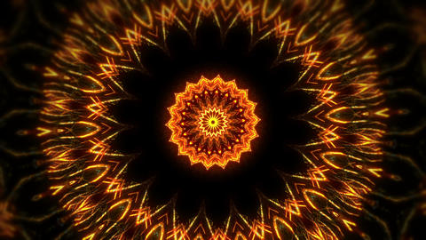 Rotating Golden Sonic Eye Sun With Kaleidoscopic Mosaic Sparkling Elements On Footage