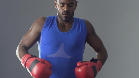Boxer warming-up before fight, motivation purpose to achieve success in career Footage
