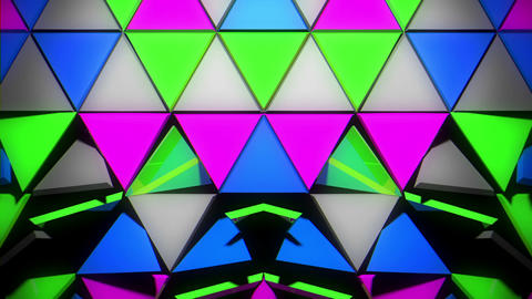 Glowing Colorful Futuristic Techno Wall Room With Geometrical Sparkling Rotating Footage