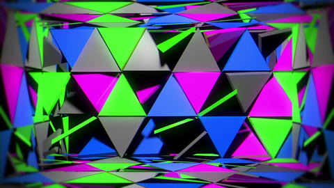 Glowing Futuristic Room Consisting of Rotating Colorful Sparkling Triamgles VJ Footage