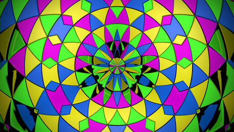 Rotating Glowing Colorful Particles Geometrical Triangle Parts Cirlcle Flower Live Action
