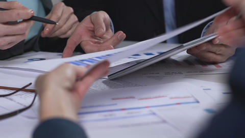 Analysis of diagrams, financial statement review, cooperation in business Footage