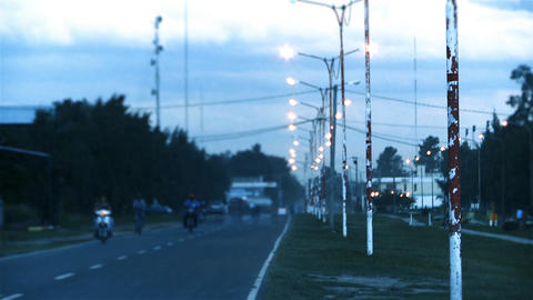 Lamps Route In Chaco, Argentina Live Action