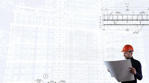 Loop background Engineer in construction helmet in background of schemes Live Action