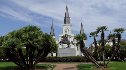 Exterior Of St Louis Cathedral In New Orleans Louisiana USA GIF