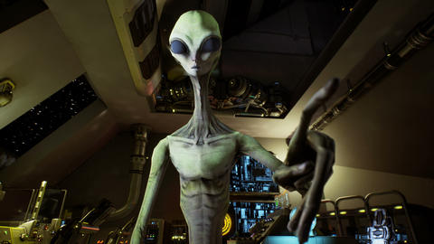 Alien presses the keys on sci-fi hologaphic screen. Realistic motion background Animation