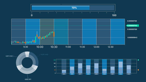 Trading and stock exchange infographics on alpha channel Animation