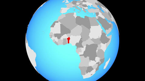 Zooming to Benin on globe Animation