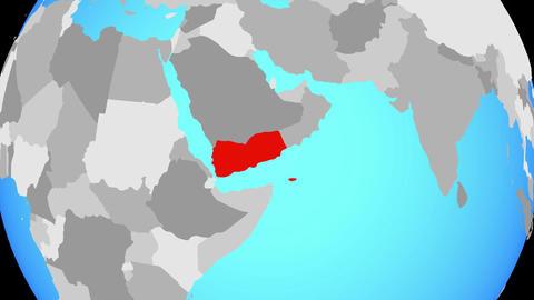 Zooming to Yemen on globe Animation