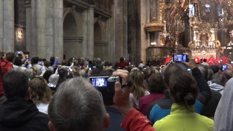 Religious ceremony held in the Cathedral of Santiago de Compostela attended by m Footage