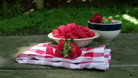 Raspberries And Strawberry stock footage