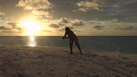 A scenic sunset on the desert island of the Maldives archipelago Footage