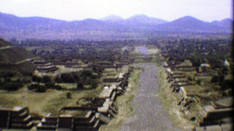 1974: Teotihuacan ancient ruins pan from atop the sacred temple Footage