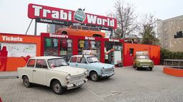 German Cars Trabi Trabant Parked In Front Trabi World Berlin stock footage