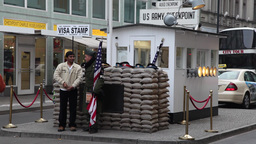 Checkpoint Charlie, one of the doors between East Berlin and West Berlin Footage