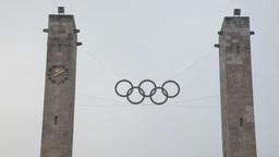 columns of Olympiastadion sports stadium in Berlin, Germany Footage