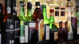Wine bottles on a shelf Footage