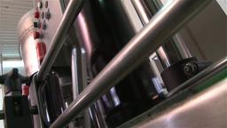 Wine bottles in a bottling line industry Footage