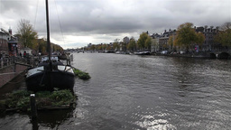 Boat house in canal in Amsterdam Footage