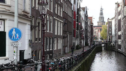 Amsterdam street with canal Footage