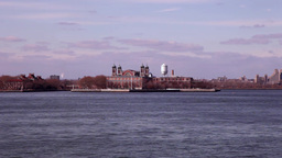 Ellis Island in New York view from boat Footage