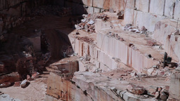 Old marble stone quarry with huge blocks of stone Footage