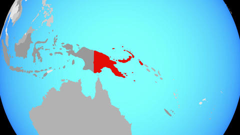 Zooming to Papua New Guinea on globe Animation